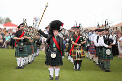 Scottish Bagpipe Band Royalty Free Stock Photo
