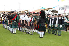 Scottish Bagpipe Band Stock Photo