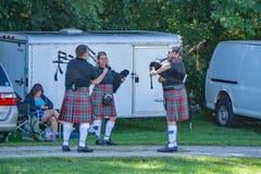 Scottish Bagpipe Group Warming Up – 2018 Greenhill Highland Games, Salem, VA stock image