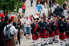 Scottish bagpipe orchestra parade Stock Photography