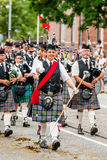 Scottish bagpipe orchestra parade Stock Photo