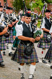 Scottish bagpipe orchestra parade Stock Images