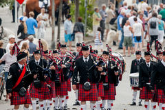 Scottish bagpipe orchestra parade Royalty Free Stock Image