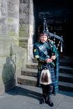 Scottish Bagpiper in Edinburgh Royalty Free Stock Image