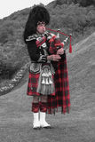 Scottish bagpiper of the highlands Stock Photos