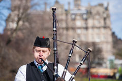 Scottish bagpiper portrait Stock Photography