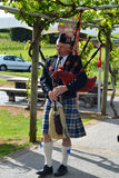 Scottish Bagpiper. A typical Scottish bagpiper playing in a ceremony stock photography