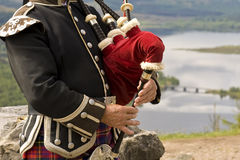 Scottish bagpipes. Scotish piper playing bagpipes above Glengarry royalty free stock photo