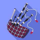 Scottish bagpipes icon, flat style stock illustration