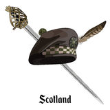 Scottish balmoral bonnet and Scottish Highland backsword Stock Photo