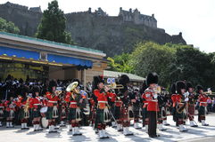 Scottish band at Edinburgh Tattoo. Traditional Scottish military band exhibition at Edinburgh Military Tattoo and Fringe Festival, under the Castle royalty free stock images