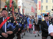 Scottish band playing their Scottish pipes Stock Photos
