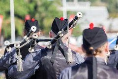 Scottish Bands Pipers Highland Gathering Stock Photo