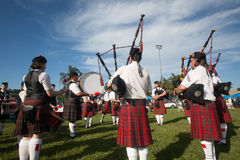 Scottish Bands Pipers Highland Gathering Royalty Free Stock Photography
