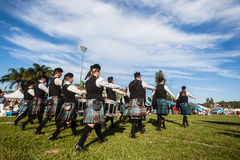 Scottish Bands Pipers Highland Gathering Royalty Free Stock Images