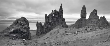 Scottish basaltic landscape in Skye isle. Old man of Storr Royalty Free Stock Photo