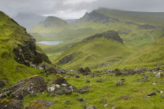 Scottish basaltic landscape in Skye isle. Quiraing. Scotland. UK Stock Photography