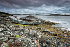 Scottish beach and old boat Royalty Free Stock Image