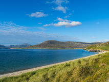 Scottish Beach in Summer. View of beach from Horgabost campsite on the island of Harris in Scotland Royalty Free Stock Photography
