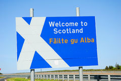 Scottish Border Sign. Stock Photos