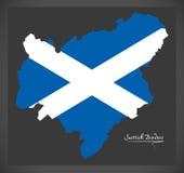 Scottish Borders map with Scottish national flag illustration Stock Photography