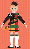 Scottish boy in traditional costume. Illustyration of a scottish boy in a kilt and tam. Fun young graphic children's illustration. Traditional ethnic costume Stock Photo