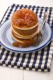 Scottish breakfast with pancake and thick cut orange marmalade Stock Photo
