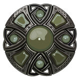 Scottish brooch. The legacy of the Scottish knights. Decorated with green agate Royalty Free Stock Photos