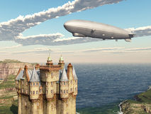 Scottish castle and airship Royalty Free Stock Photos