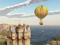 Scottish castle and fantasy hot air balloon Stock Photo