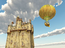Scottish castle and fantasy hot air balloon. Computer generated 3D illustration with Scottish castle and fantasy hot air balloon Royalty Free Stock Image