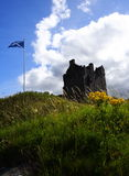 Scottish castle and flag Royalty Free Stock Photo