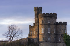 Scottish Castle House on Edinburgh's Calton Hill. A sunsetview of the Governor's House of Old Calton Jail on Calton Hill in Edinburgh, Scotland Royalty Free Stock Photography