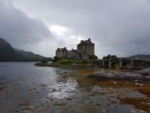 Scottish castle on lake Stock Photo