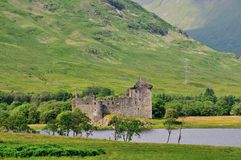 A Scottish castle at a Loch. Royalty Free Stock Photography