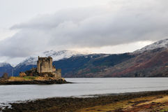 Scottish castle and mountains. Royalty Free Stock Photo