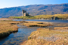 Scottish Castle Ruin. Castle Ardvrech on the shore of Loch Assynt, north west of Scotland Stock Photo