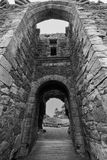 Scottish Castle Ruins Doorway Black and White. Looking through the doorway of a ruined Scottish Castle Royalty Free Stock Photos