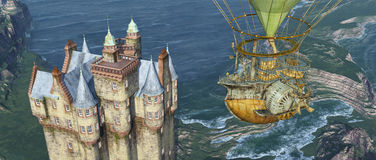 Scottish castle by the sea and fantasy hot air balloon Royalty Free Stock Photos