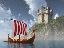 Scottish castle by the sea and Viking ship Stock Photo