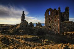 Castle Sinclair Girnigoe, eastern coast of Highlands stock photography