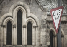 Scottish cathedral detail with traffic signal Royalty Free Stock Photos