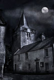 Scottish Church. A scottish church at night with a full moon Stock Photos