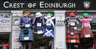 Scottish clothing in Edinburgh Royalty Free Stock Photo