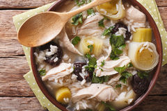 Scottish cock-a-leekie soup with leeks and prunes close up in a Stock Images