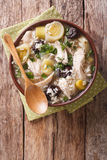 Scottish cock-a-leekie soup with leeks and prunes close up in a Royalty Free Stock Photography