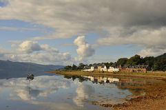 Scottish County Town. View from the county town of Inveraray, gateway to the Highlands and Islands of Scotland, looking south west across the  still waters of Stock Photo