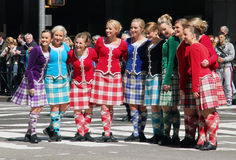 Scottish dance outfits. Scottish day parade in ny with dancers Stock Image