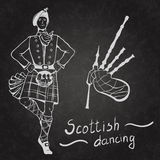 Scottish dancer and Bagpipes Stock Photos