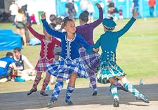 Scottish dancing at Nairn Highland Games. Dancing competition at Nairn Highland Games held on 18th August 2018 royalty free stock image